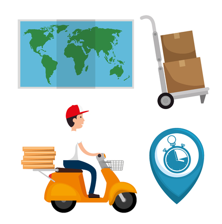 delivery service set icons vector illustration design Vectores