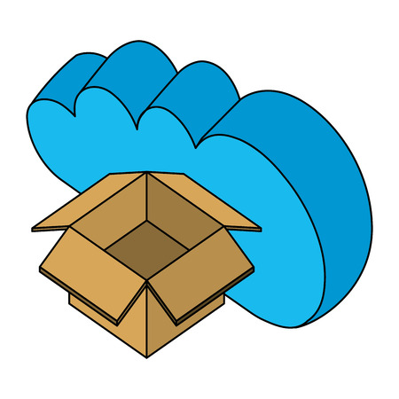 cloud computing cardboard box storage isometric design vector illustration