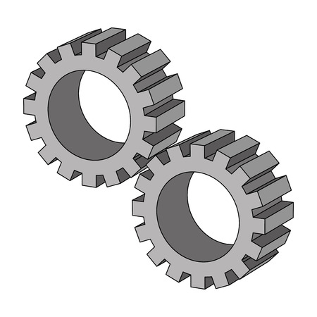 settings gear mechanic isometric design vector illustration