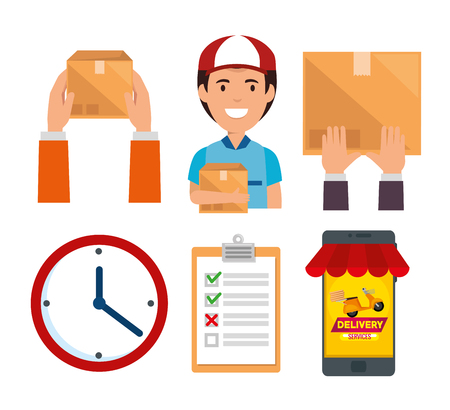 delivery service set icons vector illustration design Illustration