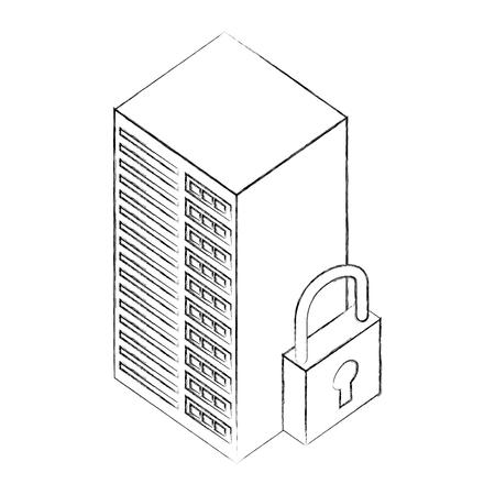 database server center cyber security isometric design vector illustration sketch
