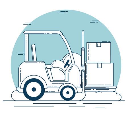 delivery service with forklift vector illustration design