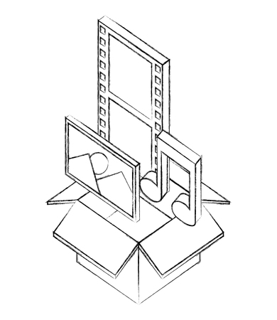 cardboard box photo movie film music note isometric vector illustration sketch