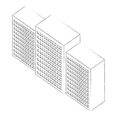 database center server technology isometric design vector illustration sketch Stock Vector - 101595970