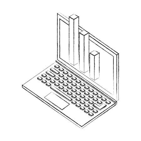 laptop statistic financial chart isometric design vector illustration sketch