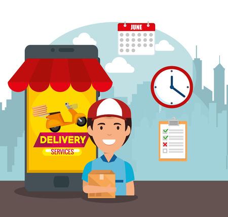 delivery service set icons vector illustration design Stock Illustratie