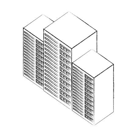 database center server technology isometric design vector illustration sketch 向量圖像