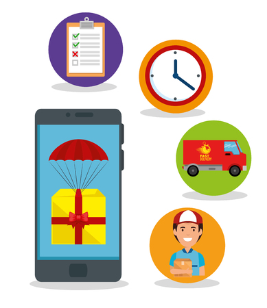 delivery service set icons vector illustration design  イラスト・ベクター素材