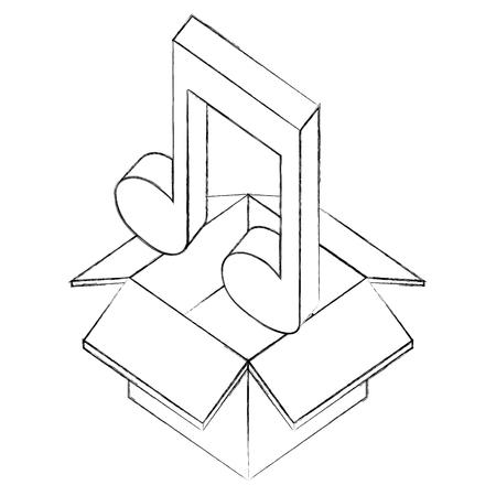 cardboard box music note sound isometric design vector illustration sketch