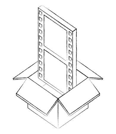 cardboard box movie film strip isometric design vector illustration sketch