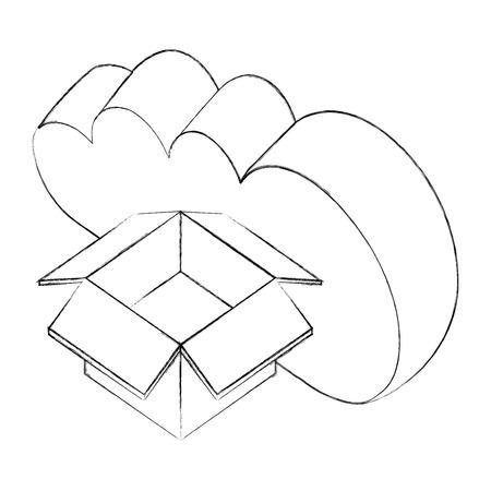 cloud computing cardboard box storage isometric design vector illustration sketch