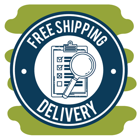 free shipping with checklist and magnifying glass vector illustration design