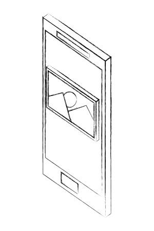 smartphone photo gallery isometric design vector illustration sketch Ilustração