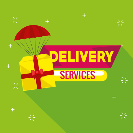 delivery service with giftbox in parachute vector illustration design