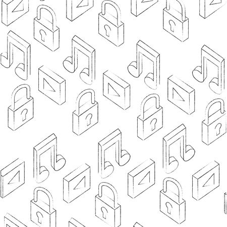 cyber security player music isometric background vector illustration sketch