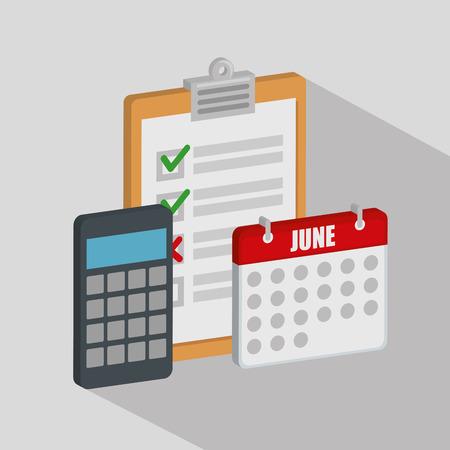 checklist with calendar and calculator vector illustration design