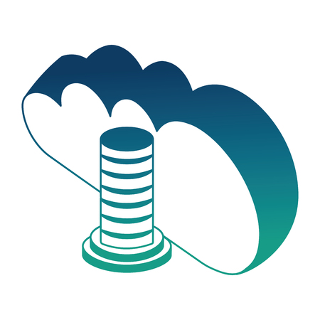 cloud computing data server browsing isometric design vector illustration blue neon