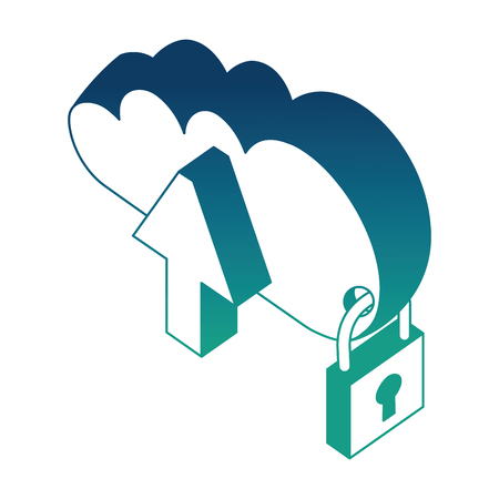 cloud computing upload cyber security isometric design vector illustration blue neon
