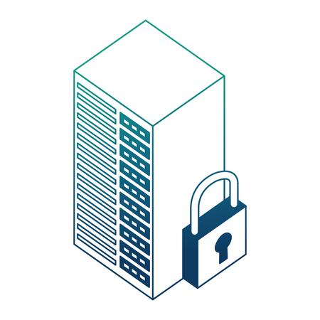 database server center cyber security isometric design vector illustration blue neon Illustration