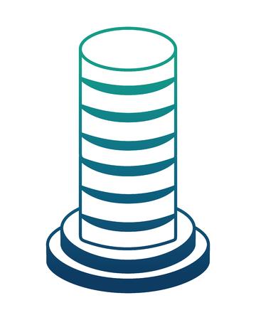data server hosting storage isometric design vector illustration blue neon