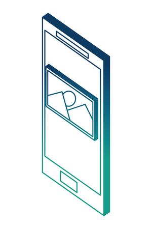 smartphone photo gallery isometric design vector illustration blue neon