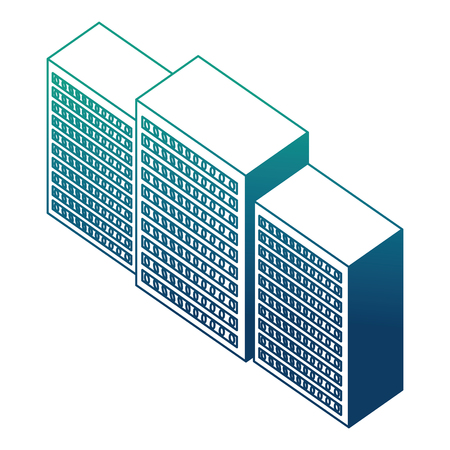 database center server technology isometric design vector illustration blue neon 向量圖像