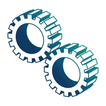 settings gear mechanic isometric design vector illustration blue neon Illustration