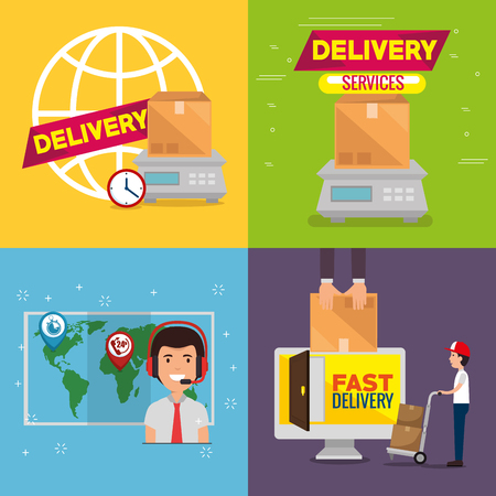 delivery service set icons vector illustration design Stock Illustratie