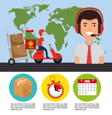 delivery service set icons vector illustration design  イラスト・ベクター素材