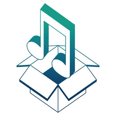 cardboard box music note sound isometric design vector illustration blue neon