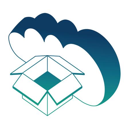 cloud computing cardboard box storage isometric design vector illustration blue neon