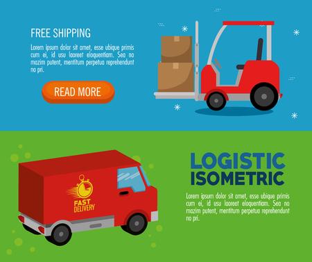 delivery service concept with van vehicle vector illustration design Illustration