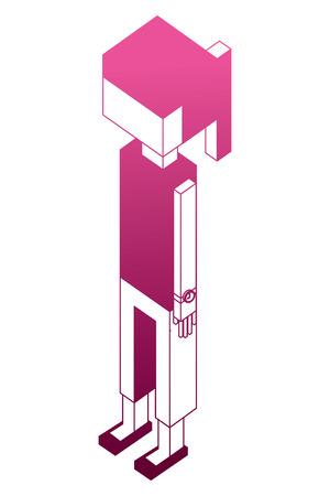 female character avatar user isometric vector illustration pink neon Ilustração