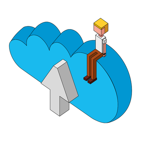 male avatar sitting on cloud computing isometric vector illustration Banque d'images - 101597121