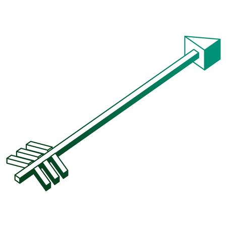 isometric arrow goal direction icon vector illustration neon design