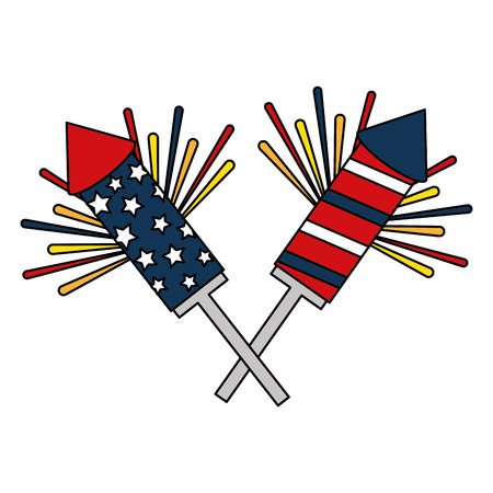 american independence day rockets fireworks explosion vector illustration