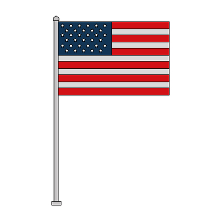 american flag in pole independence day vector illustration