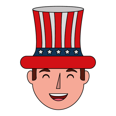 smiling man face with top hat flag american independence day vector illustration