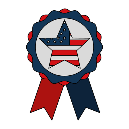 rosette star with flag american independence day vector illustration