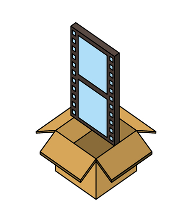 storage box with film strip movie isometric vector illustration