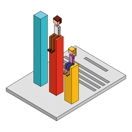 man and woman cartoon business sitting on bar graph chart on document vector illustration