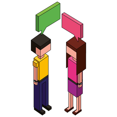 male and female characters conversation speech bubble isometric vector illustration