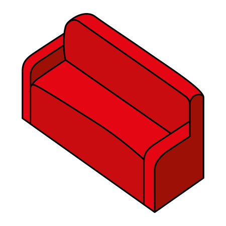 red sofa comfort furniture isometric vector illustration