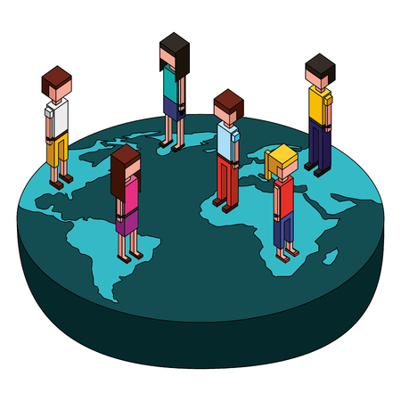 group of people standing on world map isometric vector illustration