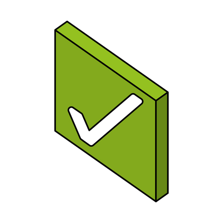 checkmark ok button web isometric vector illustration Ilustração