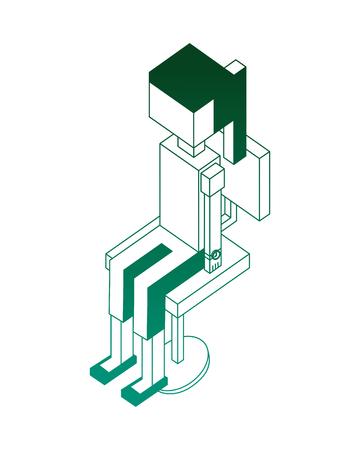 cartoon woman sitting on office chair isometric vector illustration green neon