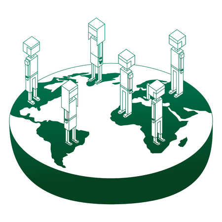 group of people standing on world map isometric vector illustration green neon Illustration