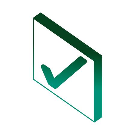 checkmark ok button web isometric vector illustration green neon