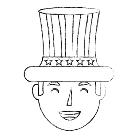 smiling man face with top hat flag american independence day vector illustration sketch