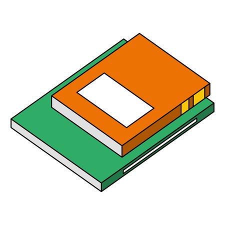 books literature knowledge isometric image vector illustration